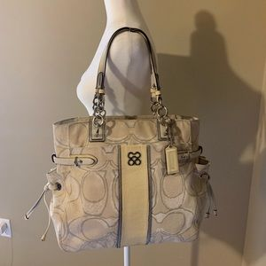 Coach Colette Cream *Yellowed* Tote Purse Satchel